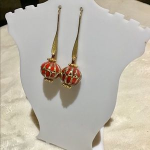❇️Vintage Red and Gold Enamel Earrings
